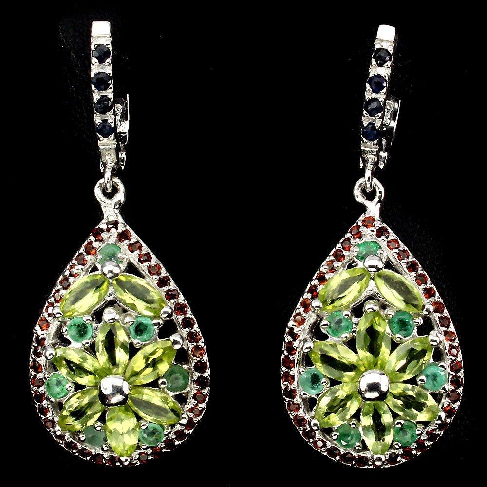 Natural Peridot Emerald Garnet Sapphire Earrings