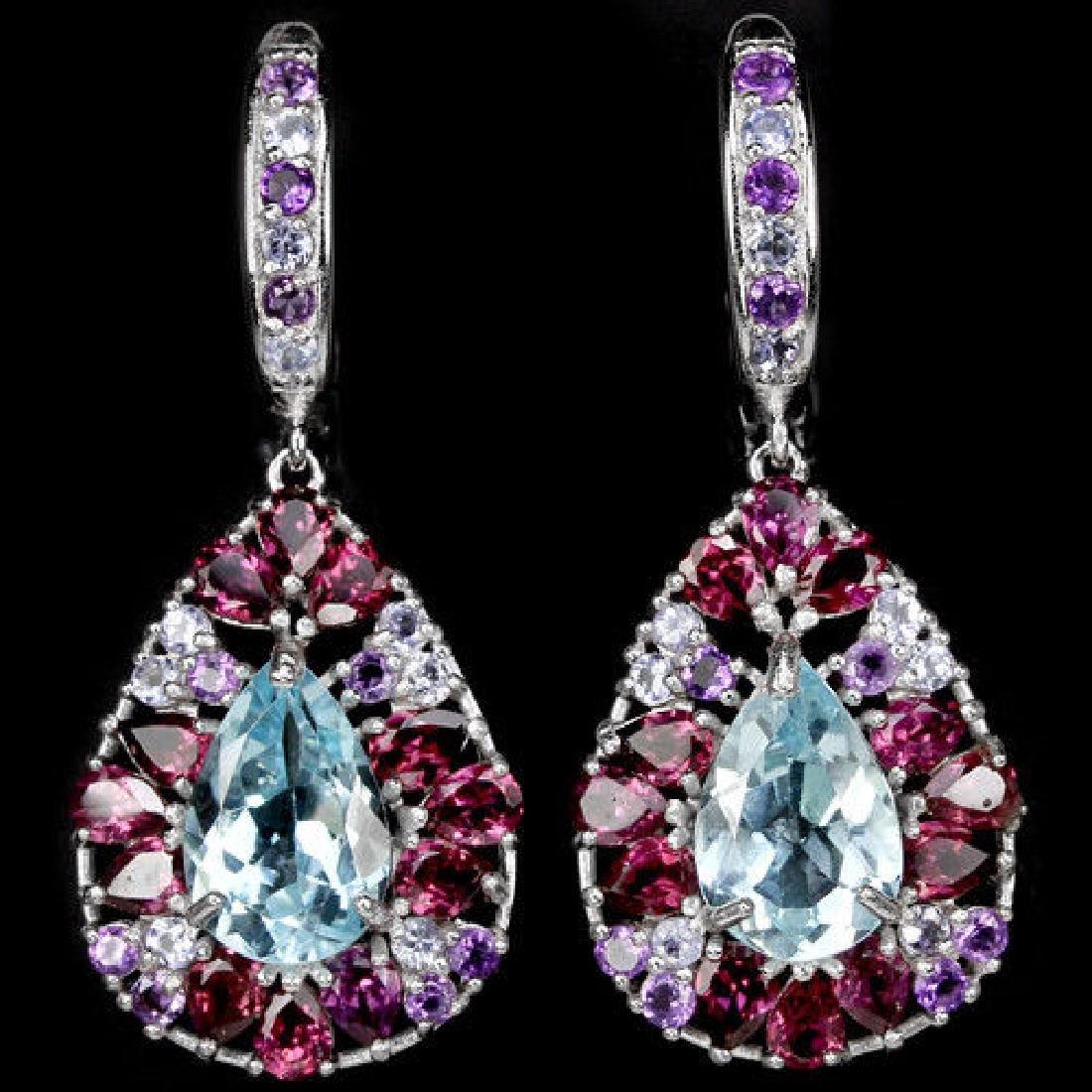 Natural TOPAZ AMETHYST RHODOLITE TANZANITE Earrings
