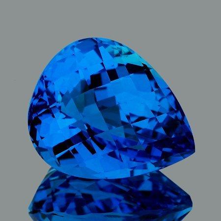 Natural Pear Checker Swiss Blue Topaz 28.15 Ct - FL