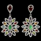 Natural Ruby Emerald Sapphire  Multi Gem Earrings