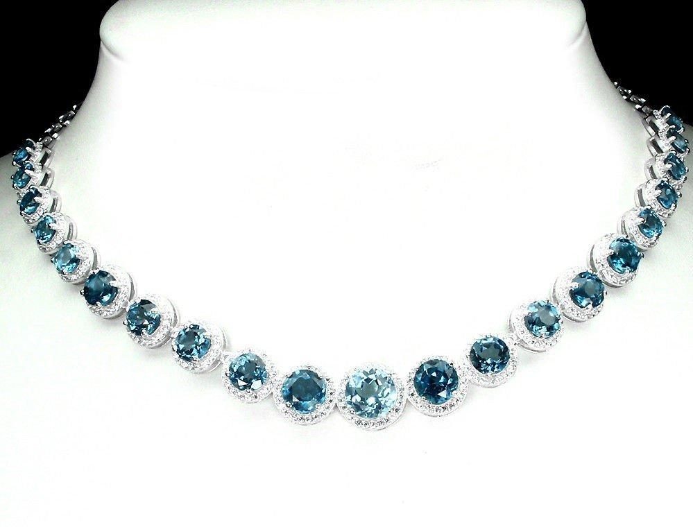 Natural London Blue Topaz 141 Carats Necklace