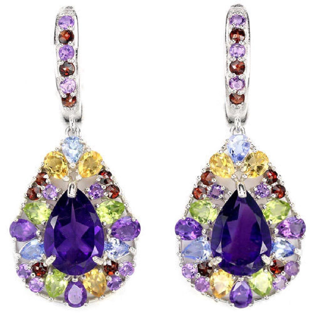 Natural Multi Gemstones Earrings
