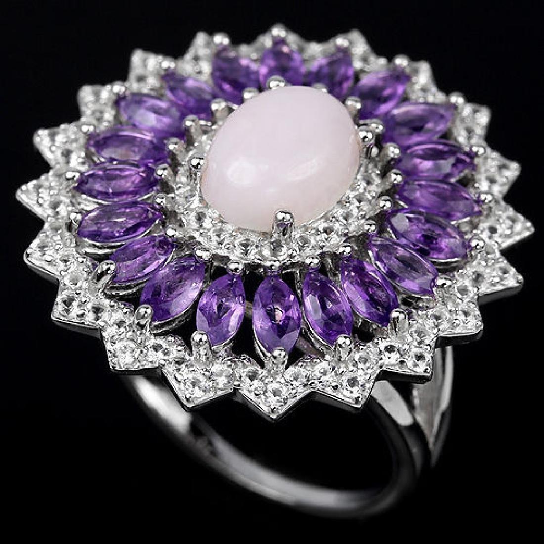 Natural Pink Opal & Amethyst Ring