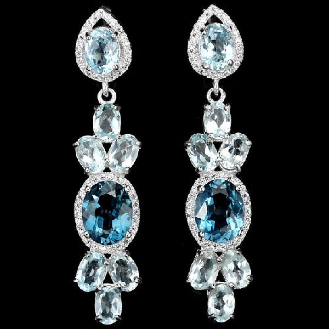 Natural Sky & London Topaz 50 Carats  Earrings