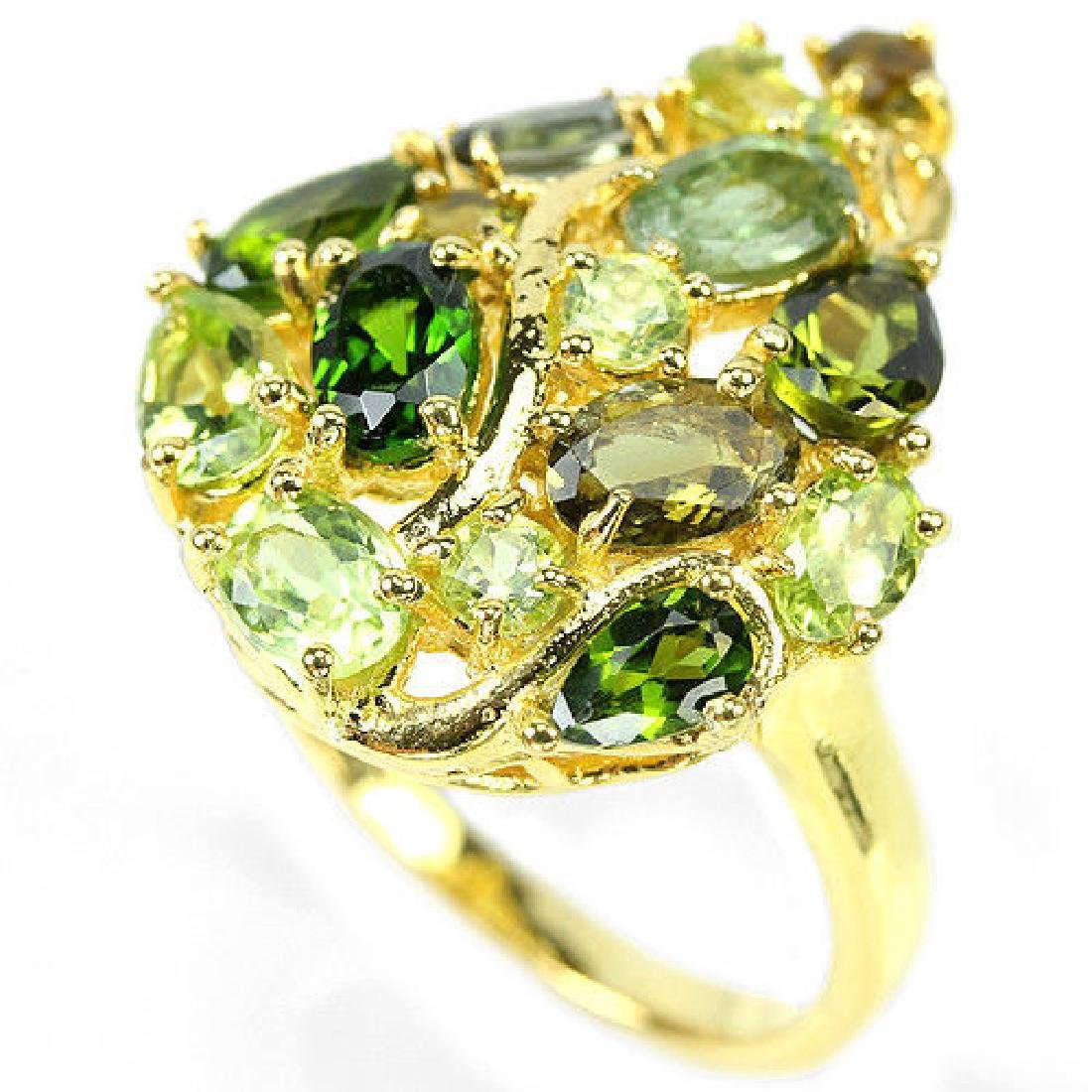NATURAL CHROME DIOPSIDE PERIDOT TOURMALINE Ring