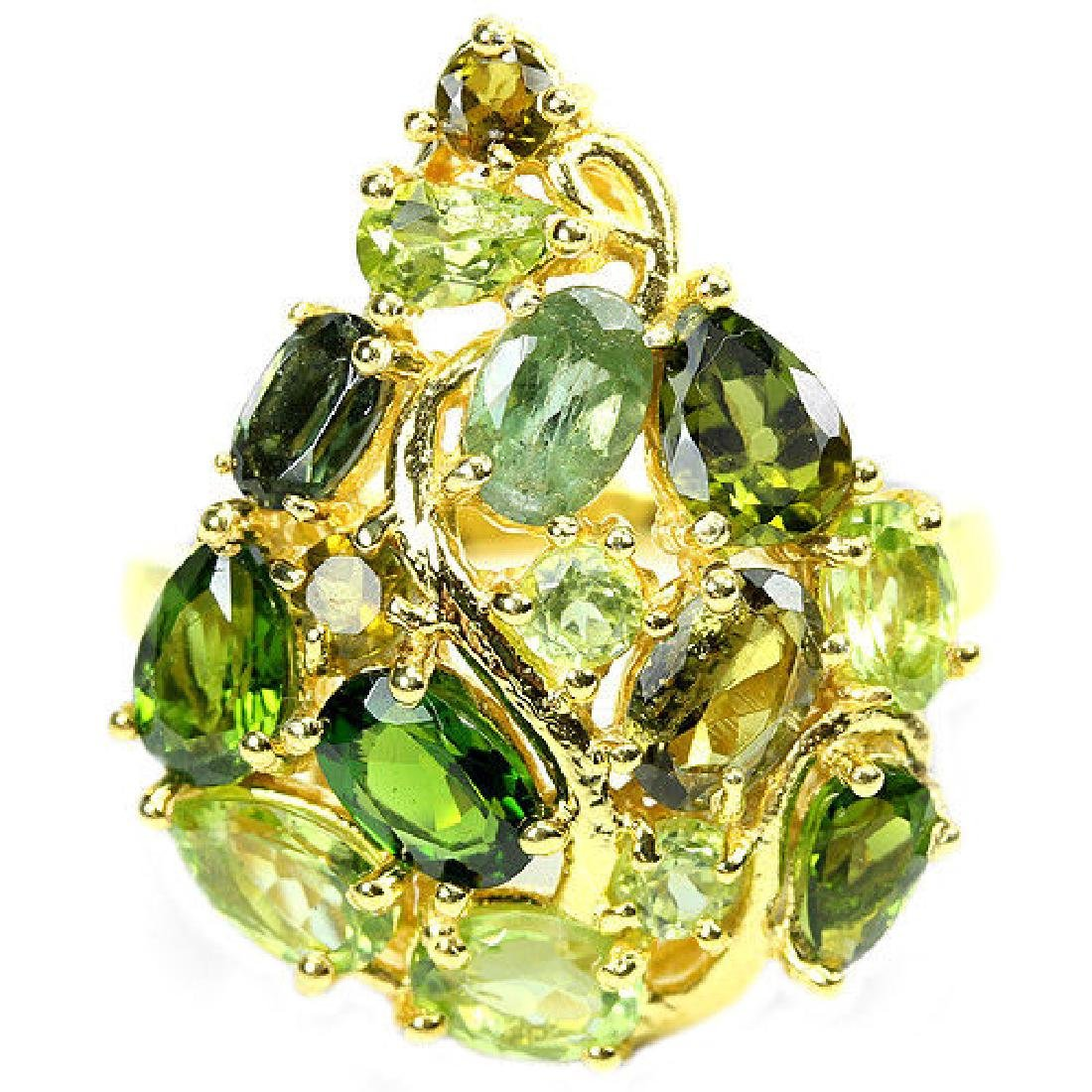 NATURAL CHROME DIOPSIDE PERIDOT TOURMALINE Ring - 2