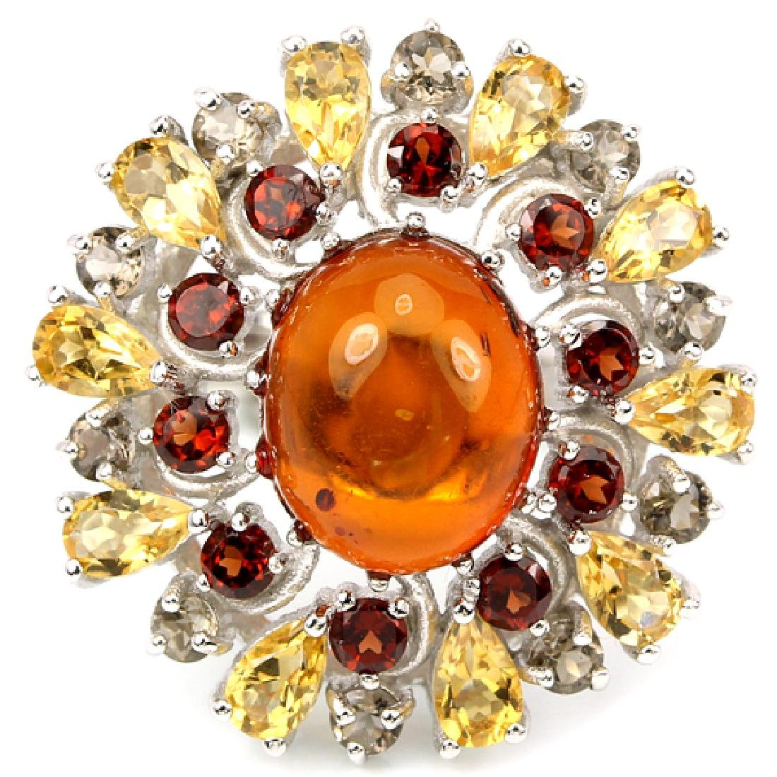 NATURAL AMBER CITRINE GARNET Ring