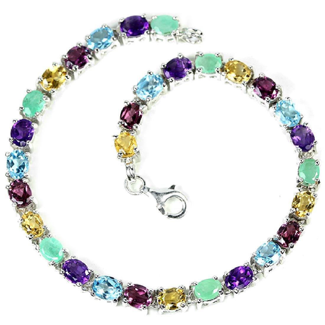 Natural EMERALD TOPAZ RHODOLITE AMETHYST Bracelet