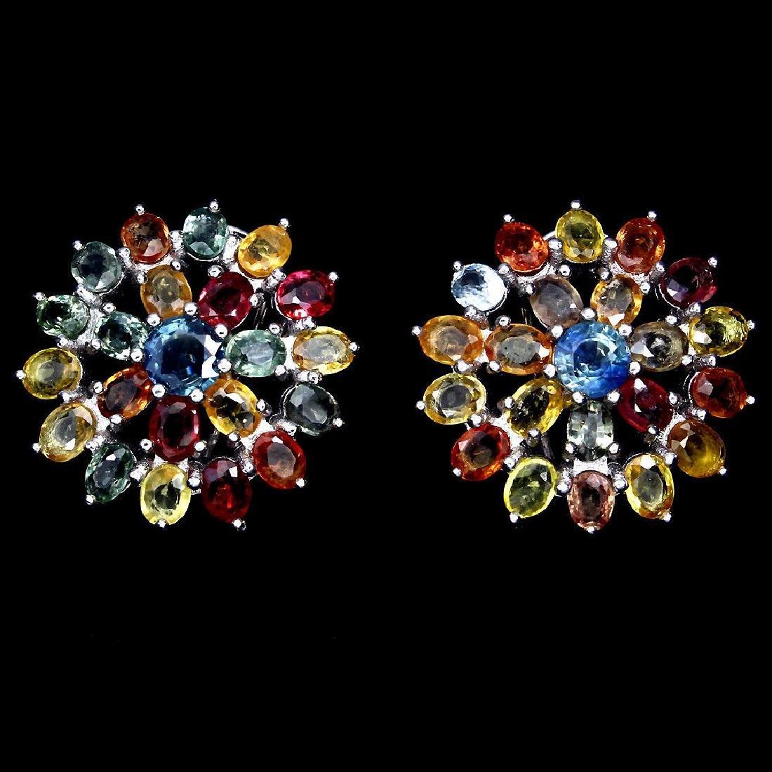 Natural Fancy Color Sapphire Flower Earrings