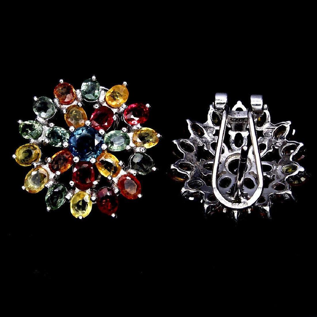 Natural Fancy Color Sapphire Flower Earrings - 2