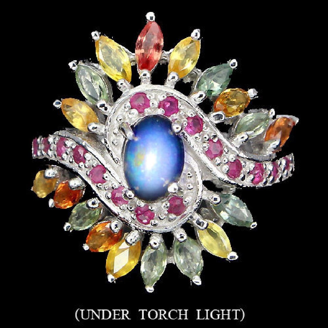 Natural Black Opal Ruby & Sapphire Ring