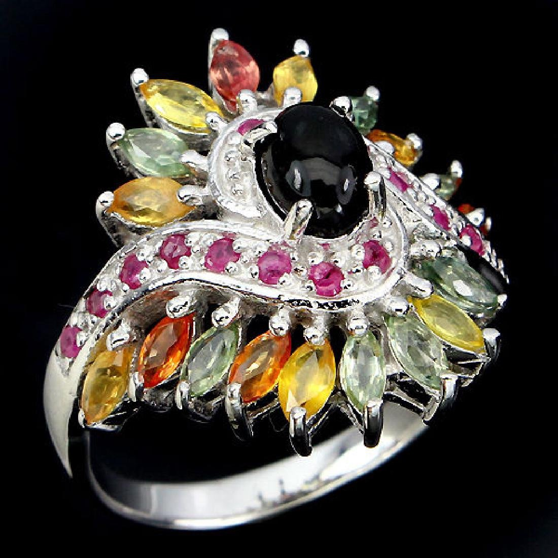 Natural Black Opal Ruby & Sapphire Ring - 2
