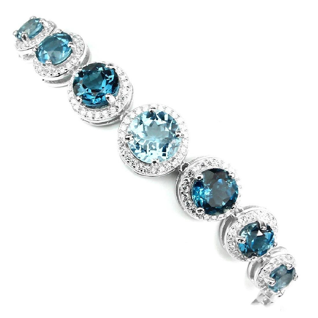 Natural London Blue Topaz Sky Blue Topaz Bracelet