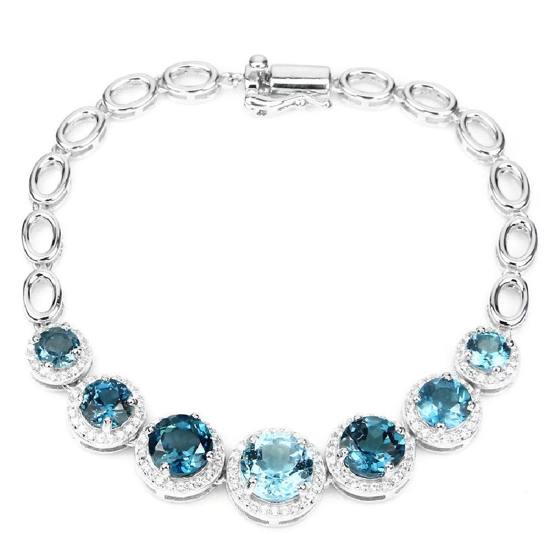 Natural London Blue Topaz Sky Blue Topaz Bracelet - 2