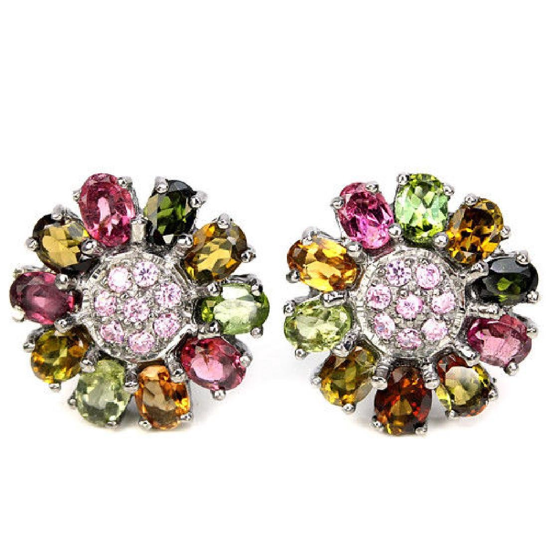 NATURAL MULTI COLOR TOURMALINE EARRING