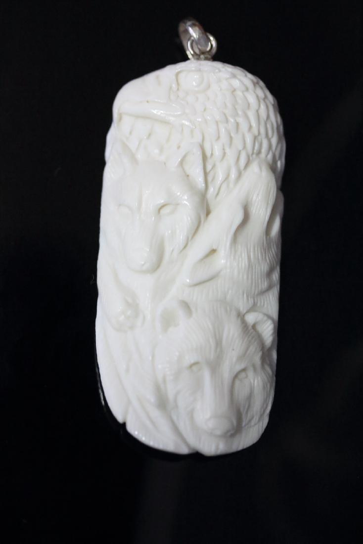 Hand Carved Eagle & Bear  Pendant