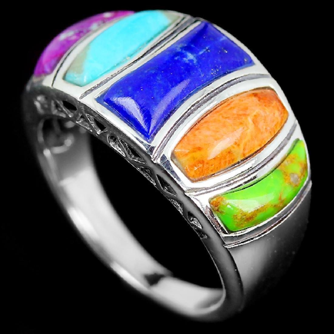 Natural Multi Color Turquoise Lapis Lazuli Ring