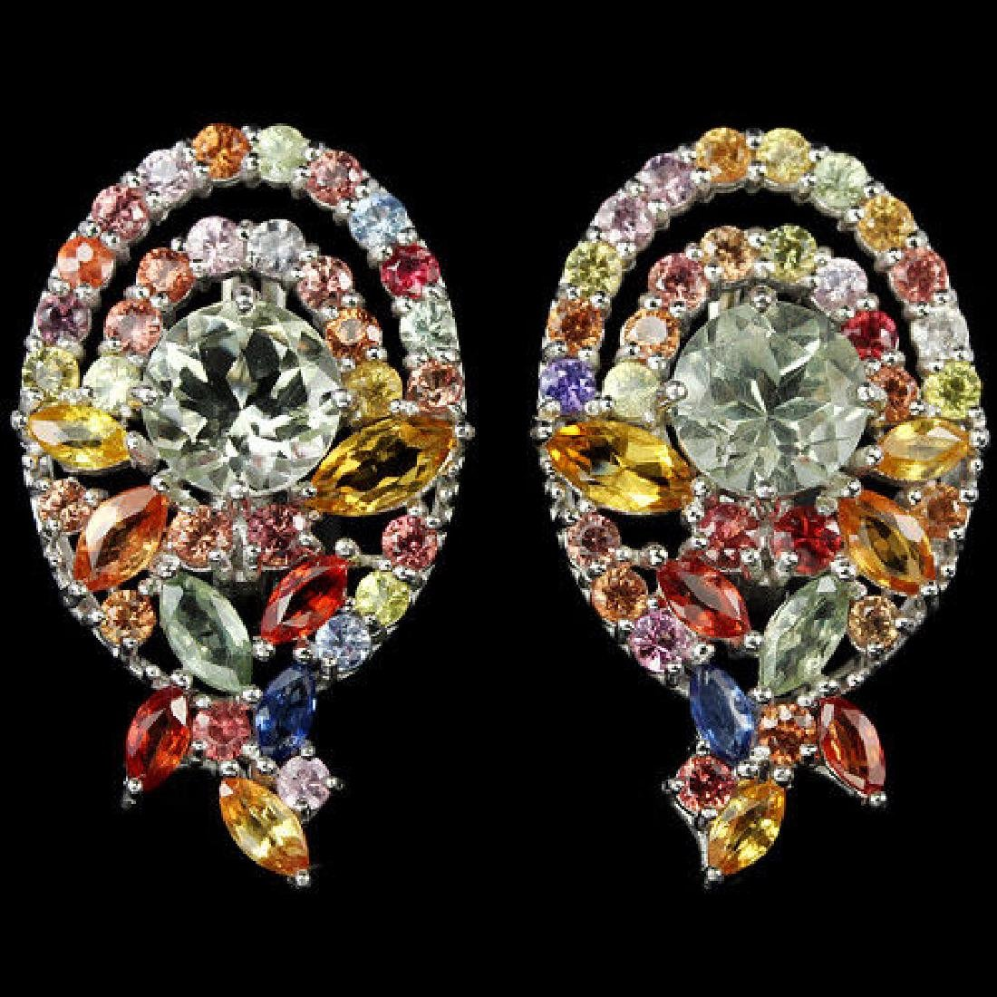 Natural AMETHYST MULTI COLOR SAPPHIRE Earrings