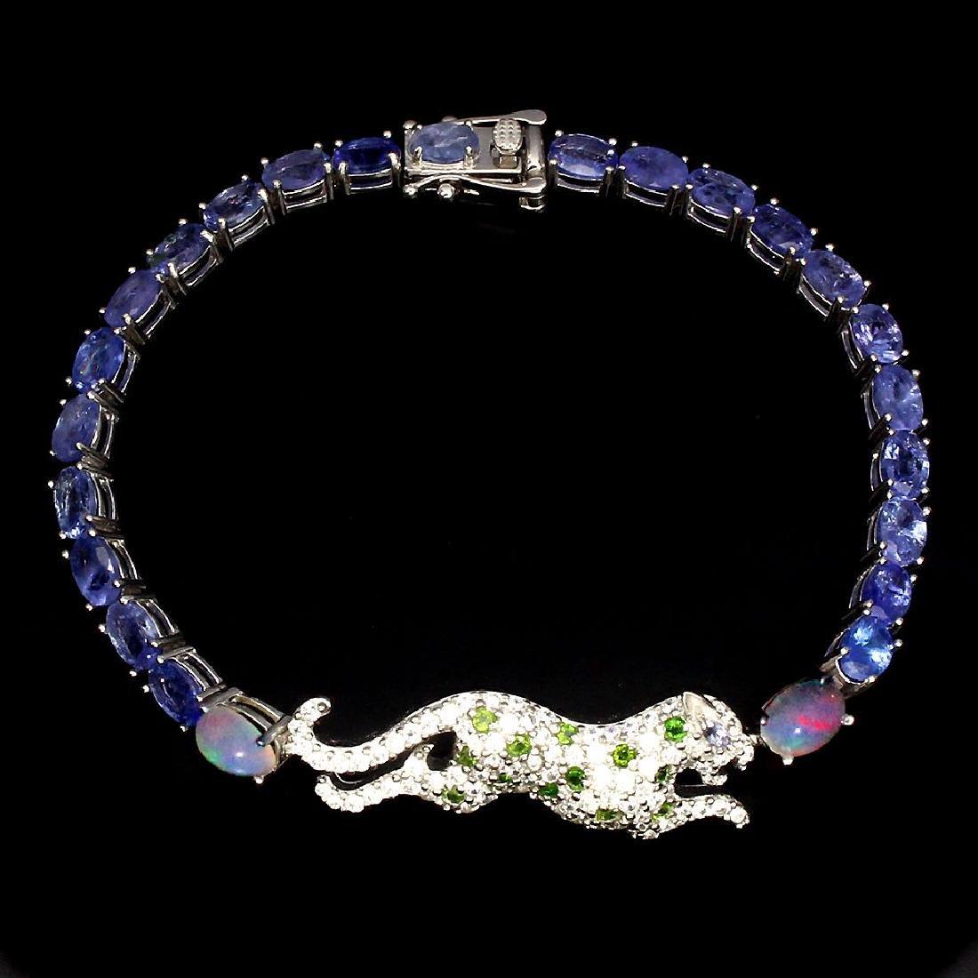 Natural Tanzanite C-Diopside Fire Opal Tiger Bracelet