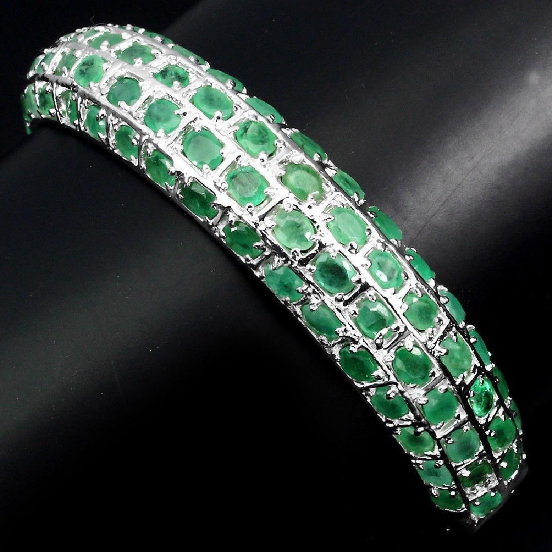 Natural  Rich Green Emerald 122 Carats Bangle