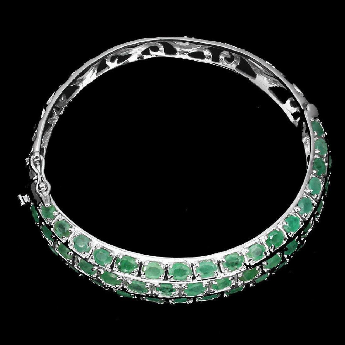 Natural  Rich Green Emerald 122 Carats Bangle - 2
