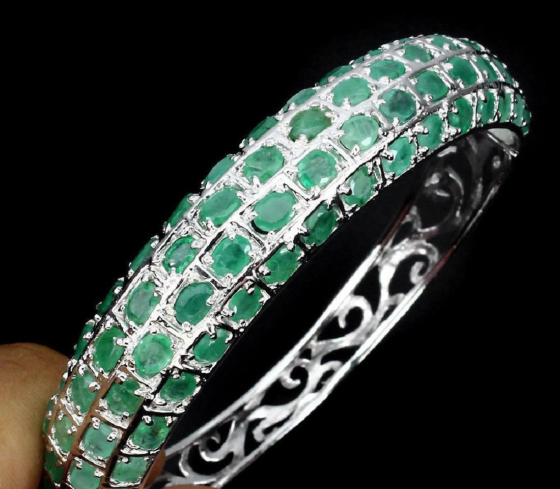 Natural  Rich Green Emerald 122 Carats Bangle - 3