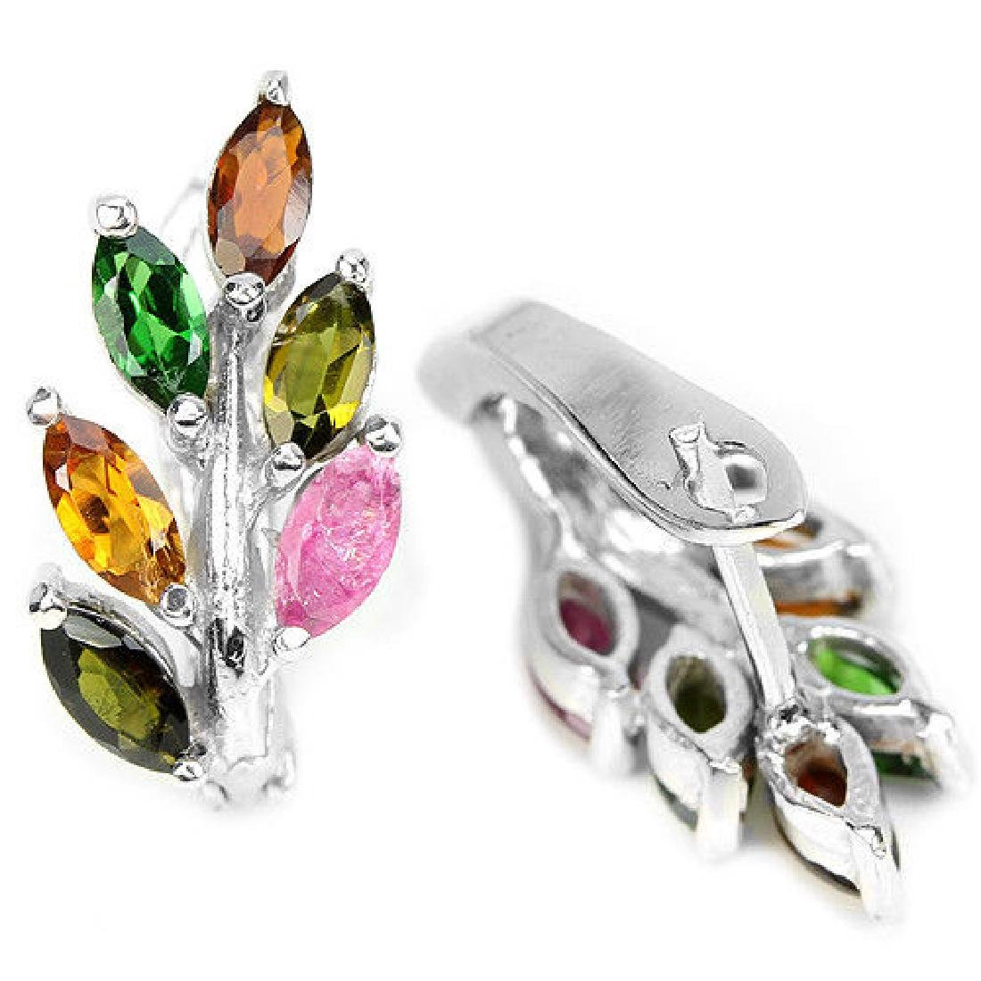NATURAL MULTI COLOR TOURMALINE LEAF EARRING - 2
