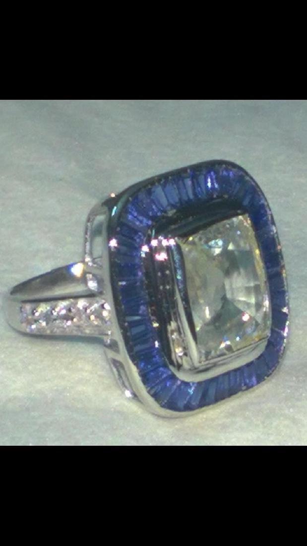 Natural White & Blue Sapphire Art Deco Gold Ring