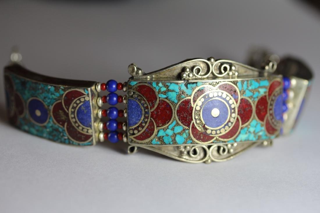 Tibet Hand Made Turquoise Lapiz Lazuli & Coral Bracelet