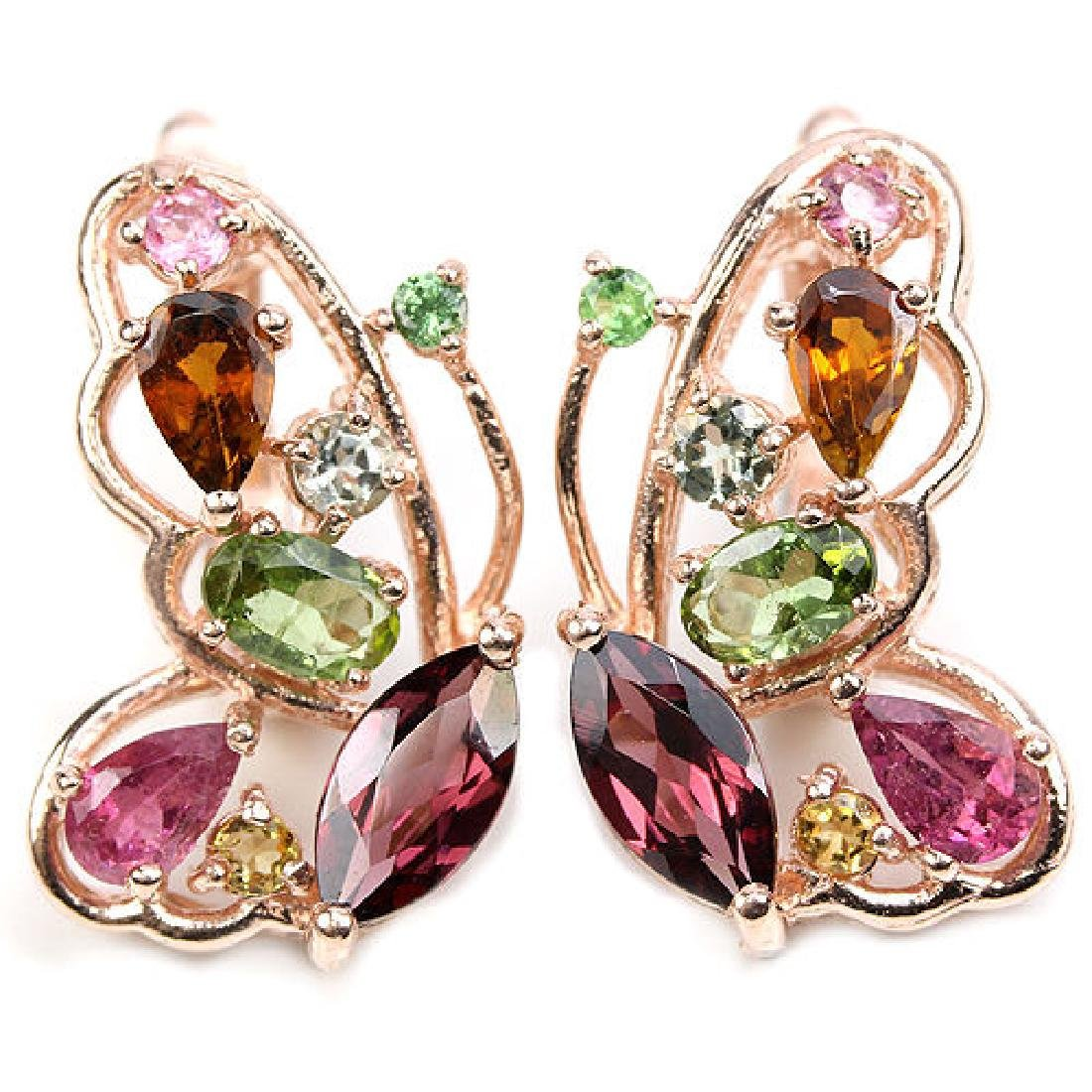 NATURAL MULTI COLOR BUTTERFLY TOURMALINE EARRING