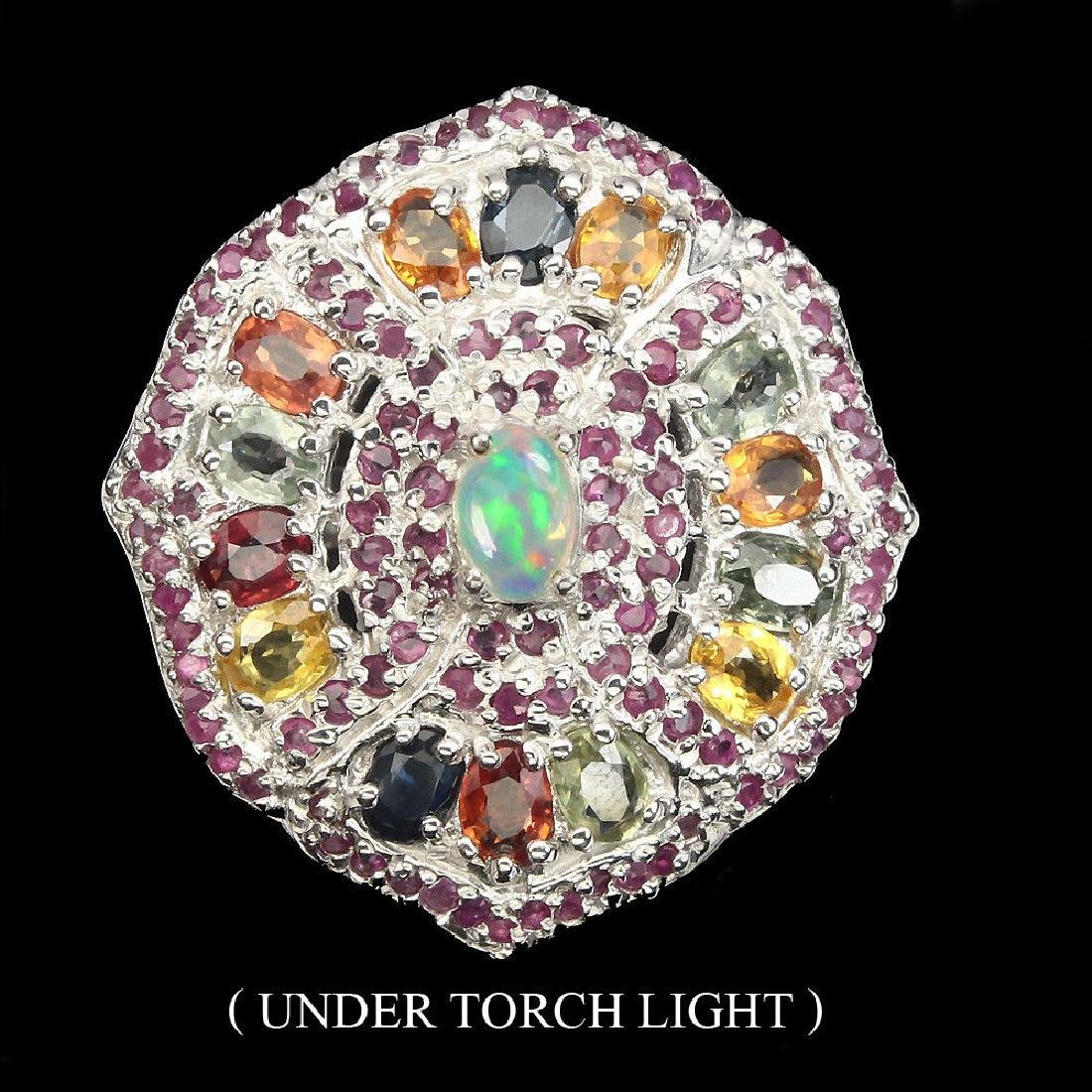 Natural White  Opal Ruby Sapphire Ring