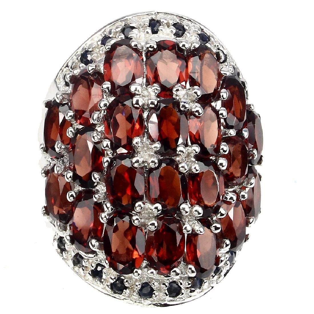 Natural Orange Garnet & Black Sapphire Ring