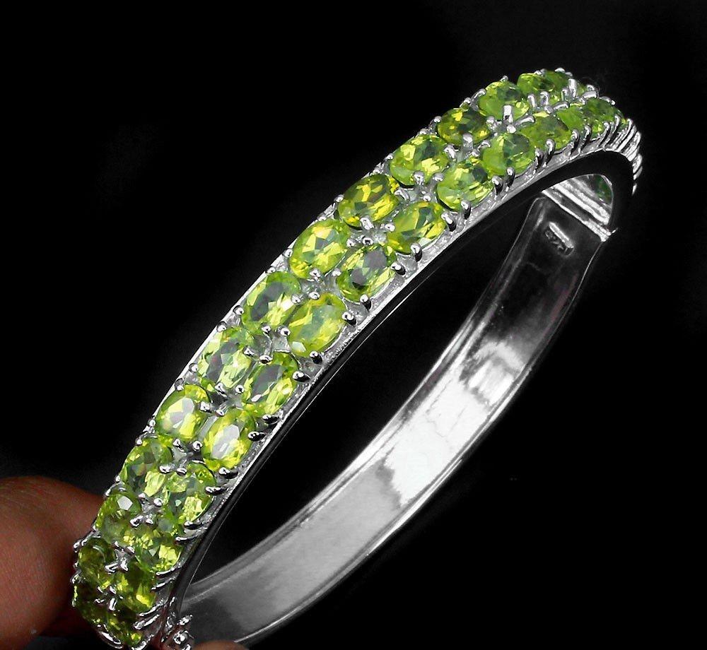 Natural Top Rich Green Peridot 148.42 Ct Bangle - 2