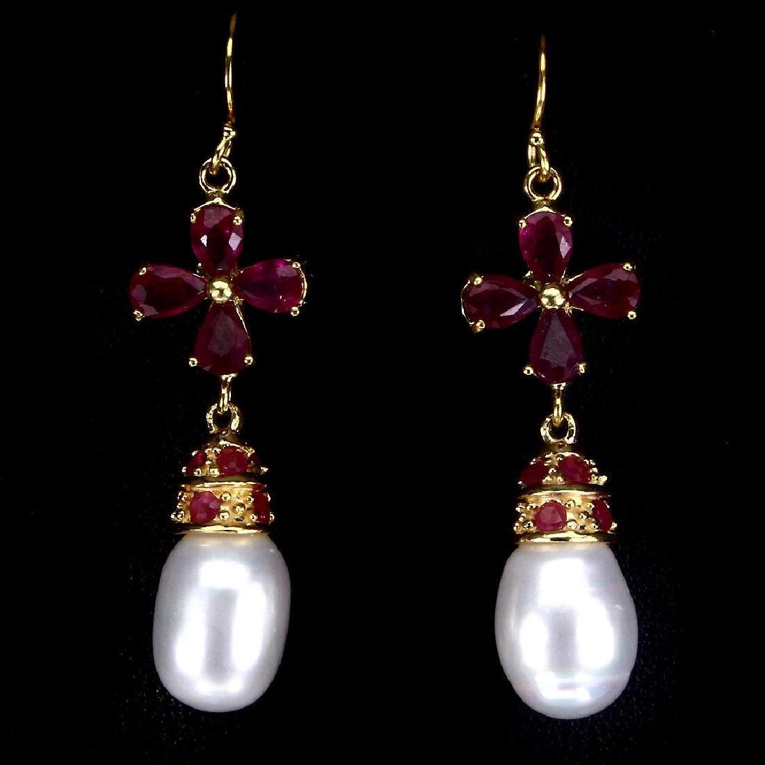 Natural Japanese Pearl & Ruby Earrings