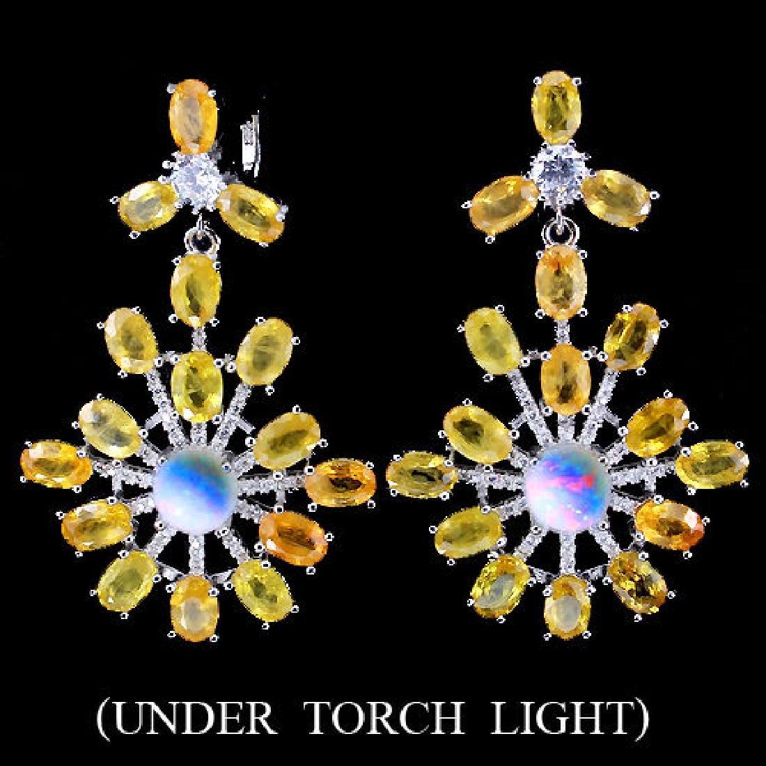 Natural Yellow Sapphire, Opal & Cz Earrings
