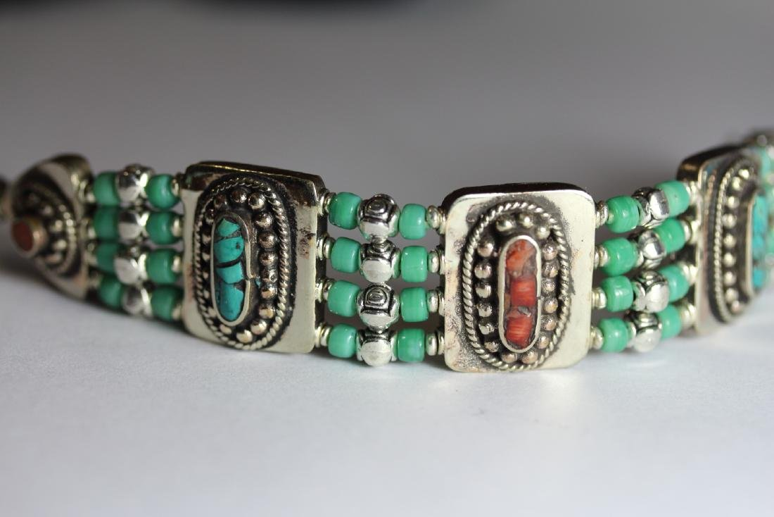 Tibet Hand Made Turquoise, Coral Bracelet