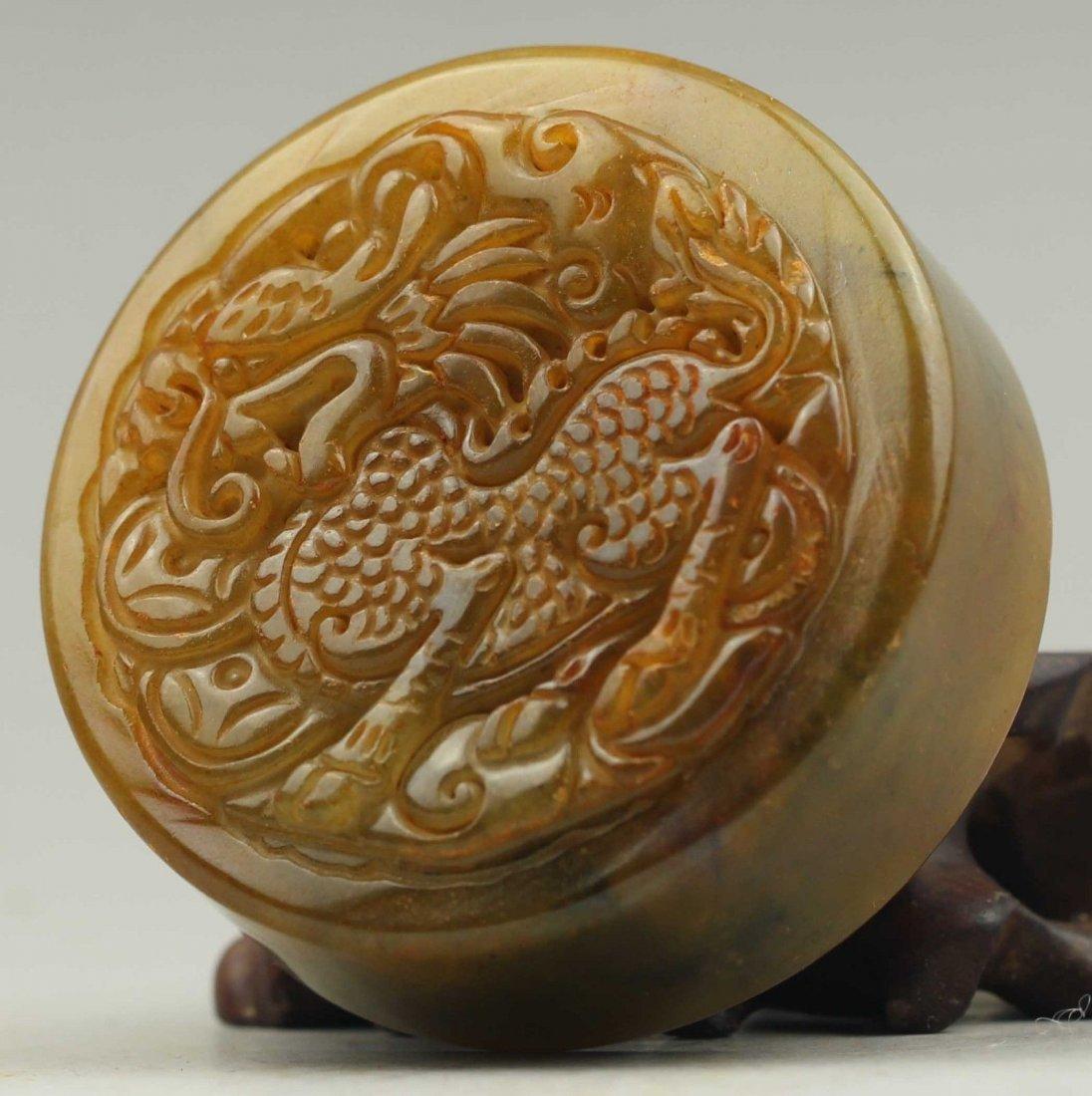 Antique  Natural jade hand-carved dragon seal