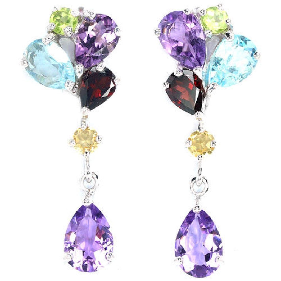 Natural Multi Gemstone Earrings