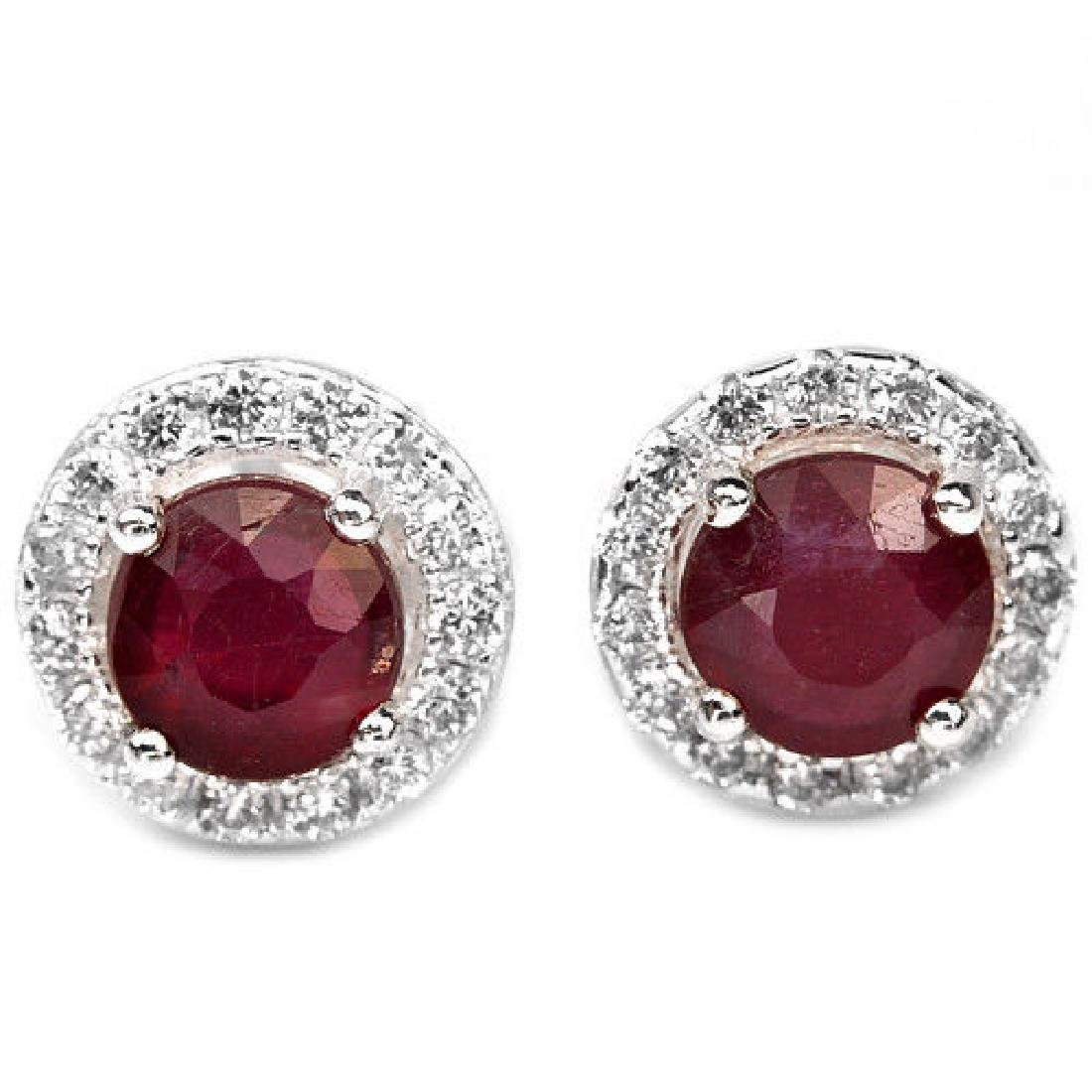 Natural Vivid Red Ruby Ear Studs