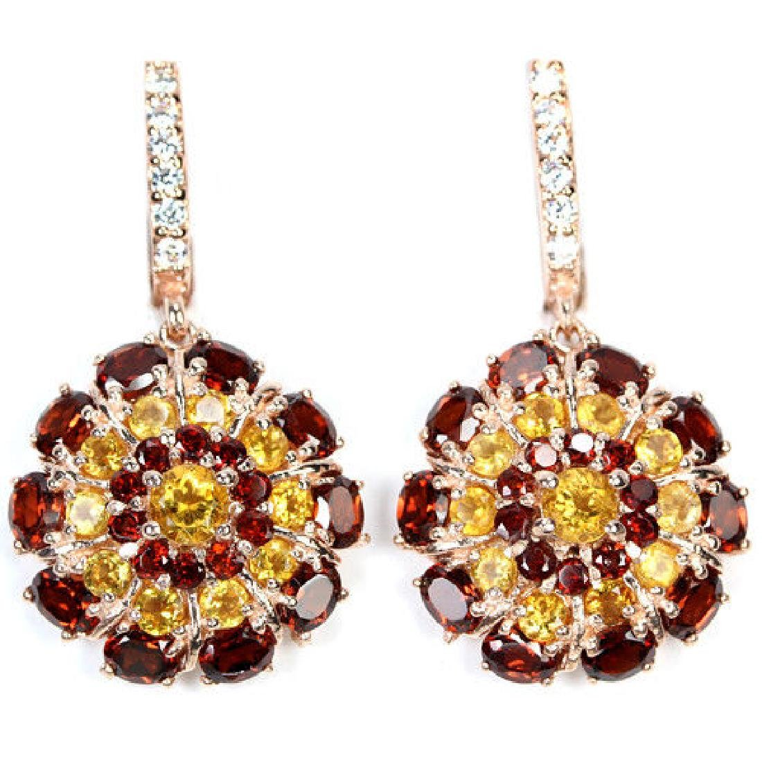 NATURAL Dark RED GARNET, CITRINE Earrings