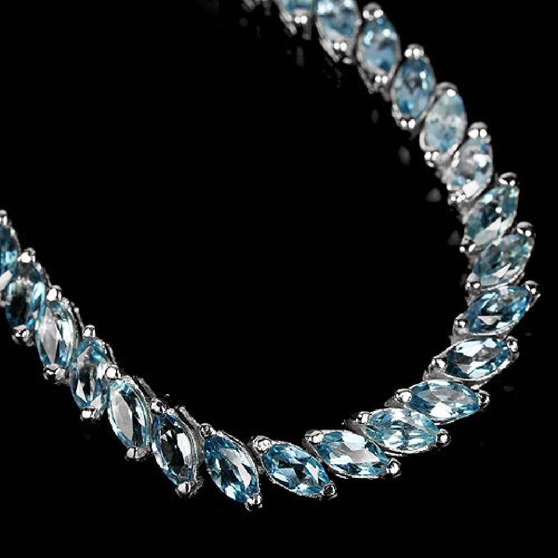 Natural Marquise London Blue Topaz Bracelet - 2
