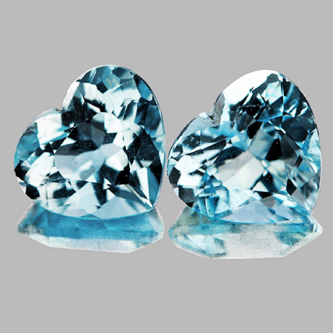 Natural Sky Blue Aquamarine Hearts Pair 6.5 MM - FL