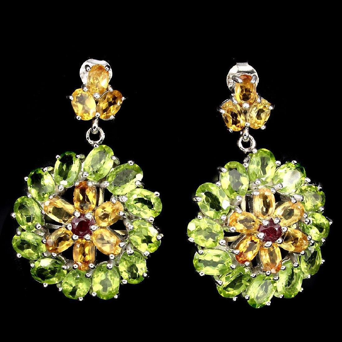 Natural Rich Green Peridot Citrine Ruby Earrings