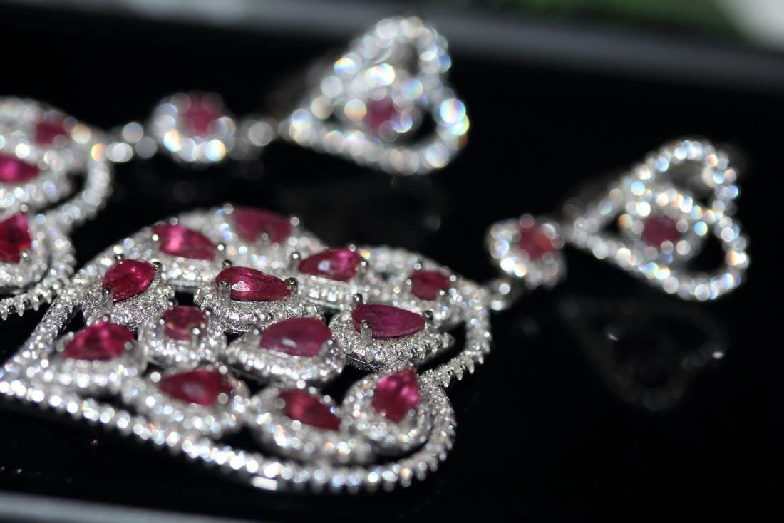 Natural Red Ruby Earrings ( Heavy) - 4