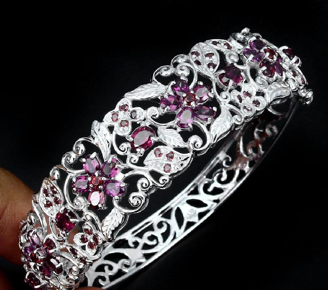 Natural Pink Raspberry Rhodolite Garnet Bangle - 2