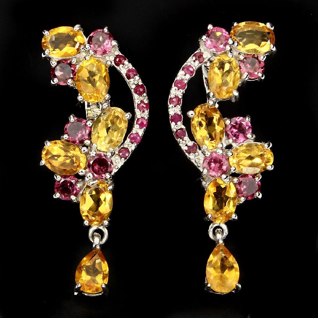 Natural Yellow Citrine Rhodolite Garnet Ruby Earrings
