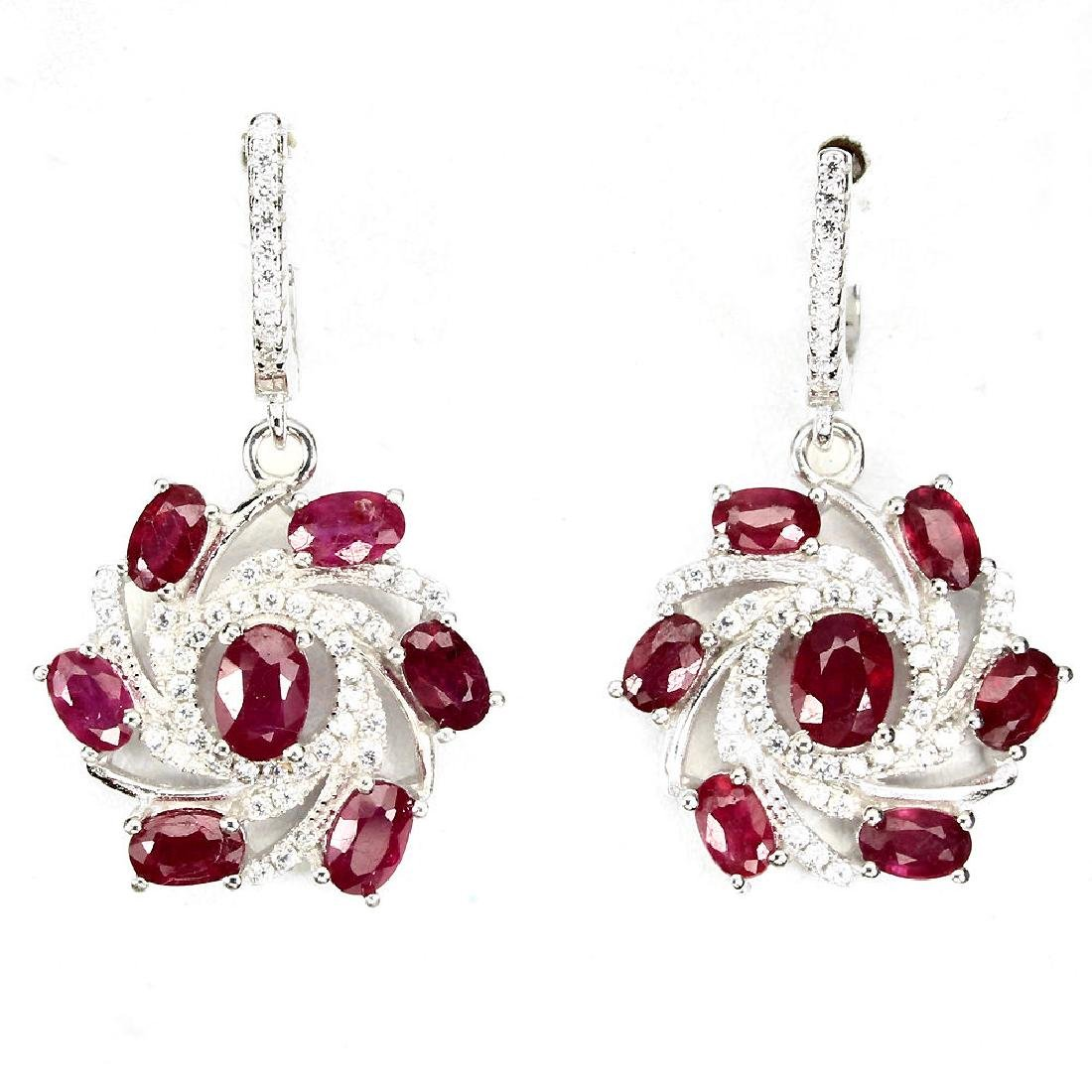 Natural Red Ruby 34.25 Cts Earrings