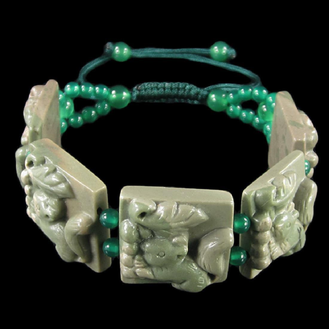 Natural Stone Carved Ribbon Jasper Squirrel Bracelet