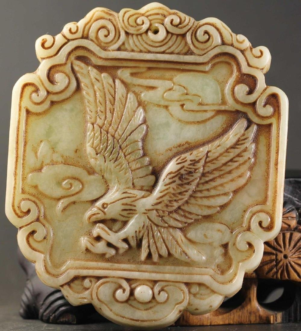 Antique Chinese Jade Hand Carved Eagle Pendant