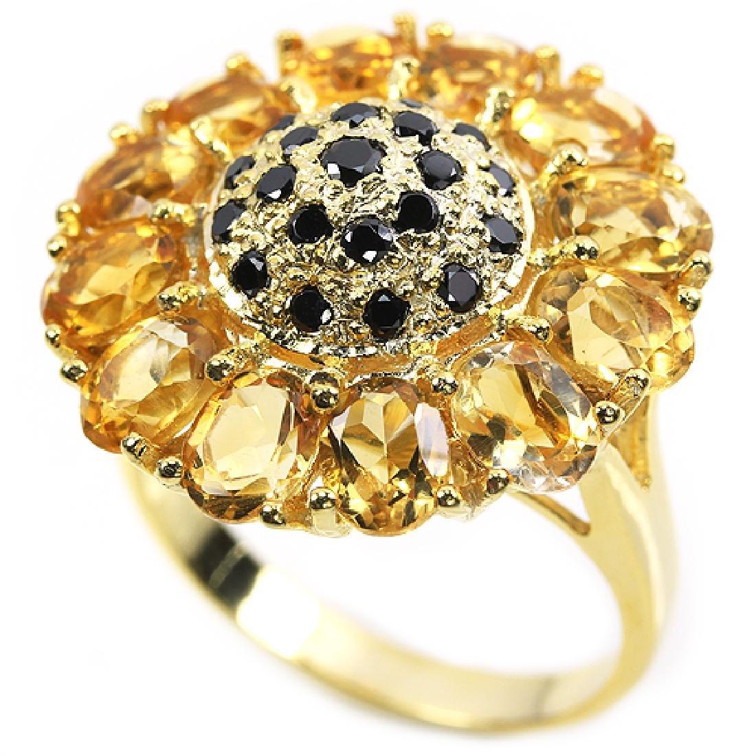 Natural Citrine Sunflower Ring